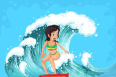 A brave girl surfing — Stock Vector