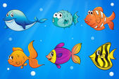 Different kinds of fishes under the ocean — Stock Vector
