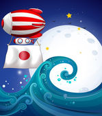 A floating balloon with the flag of Japan — Stok Vektör