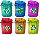 Six trashcans for recyclable garbages — Stock Vector