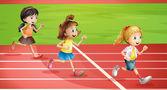 Three kids jogging — Stock Vector