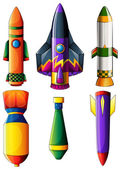 A group of colorful rockets — Stock Vector