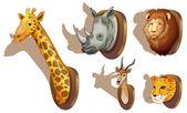 Stuffed animal heads — Stock Vector