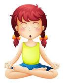 A little girl doing yoga — Stock Vector