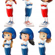 Six baseball players — Wektor stockowy