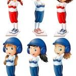 Six baseball players — Vecteur
