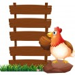 A hen beside the empty signboards — Stock Vector #45563757