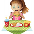 A hungry child eating — Stock Vector #45564499