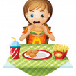 A child eating at a fastfood restaurant — Stock Vector