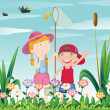 Two kids catching the butterflies — Stock Vector #45565193