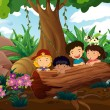 Kids playing at the woods — Stock Vector