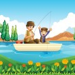 A father and son fishing — Stock Vector #45565565