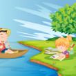 A boat with a boy and a girl studying at the riverbank — Stock Vector #45566457
