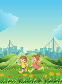 Two adorable kids playing with the butterflies — Stock Vector