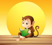 A monkey reading — Stock Vector