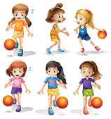 Little female basketball players — Stock Vector