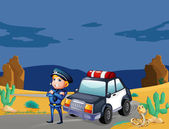 A smiling policeman beside the patrol car — Stock Vector