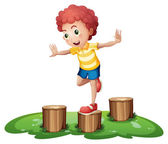 A cute young boy playing above the stumps — Stock Vector