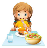 A young girl eating — Stock Vector