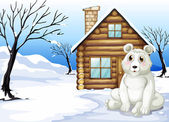 A polar bear outside the wooden house — Stock Vector