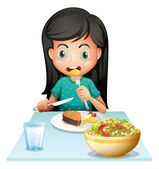 A girl eating her lunch — Stock Vector