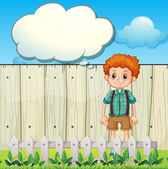 A boy at the backyard with an empty callout — Stock Vector
