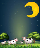 Cows under the sleeping moon — Stock Vector