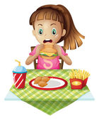 A hungry child eating — Stock Vector