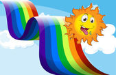 A rainbow beside the happy sun — Stock Vector