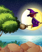 A witch flying with a broom in the middle of the night — Stock Vector