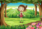 A shocked young girl in the middle of the forest — Stock Vector