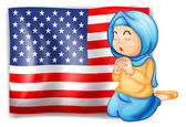 A Muslim praying in front of the USA flag — Stock Vector