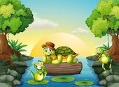 A turtle and the two frogs at the river — Stock Vector
