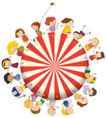 Kids forming a big circle — Stock Vector