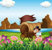 A monkey beside the wagon at the riverbank — Stock Vector