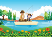 A father and son fishing — Stock Vector