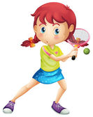 A young girl playing tennis — Stock Vector