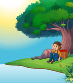 A young boy relaxing under the tree — Stock Vector