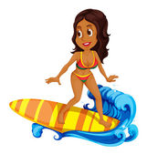 A tan girl surfing — Stock Vector