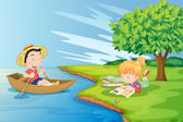 A boat with a boy and a girl studying at the riverbank — Stock Vector