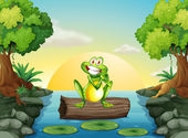 A frog at the river standing above the log — Stock Vector