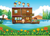 A wooden house in the middle of the river with kids — Stock Vector
