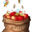 A sack of apple with bees — Stock Vector #46121375
