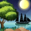 A black ship at the sea under the bright moon — Stock Vector #46121389
