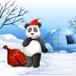 A panda with a red sack — Vector de stock  #46122573