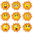 Different facial expressions of the sun — Stock Vector #46122905