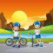 Two kids with their bikes standing at the road near the river — Stock Vector #46123025