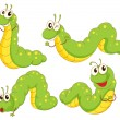 Four green caterpillars — Stock Vector #46123155