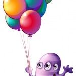 A monster holding balloons — Stock Vector #46123269