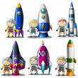 Explorers beside the rockets — Stock Vector